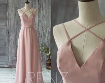 Bridesmaid Dress Blush Chiffon Dress,Wedding Dress,Criss Cross Straps Prom Dress,V Neck A-Line Maxi Dress,Long Sleeveless Party Dress(T159)
