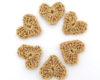 6 small  Christmas Crochet applique, handmade crochet hearts embellishments