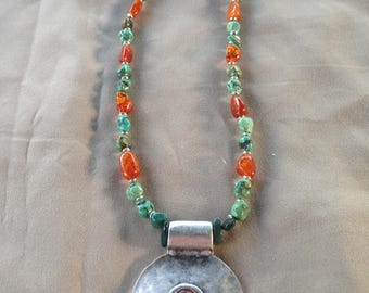 Genuine Turquoise and Amber Necklace