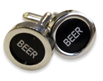 Beer Cuff Links - Cash Register Key Cufflinks - Black BEER Key - by Gwen DELICIOUS Jewelry Design