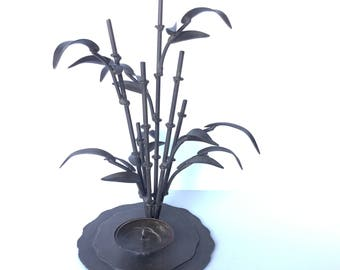 METAL BAMBOO CANDLEHOLDER Vintage Metal Candle Holder