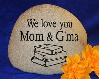 "Custom Engraved Mother's Day Stones/Rocks, Medium apx. 7""-8"" wide"