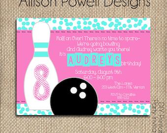 Girls Bowling Party Invitation - Custom Printable DIY Invitation