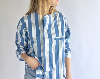 Vintage Blue Striped Button Down Blouse   Stripe Cotton Pajama shirt   Vertical Stripe Button Up   Classic Button Up   European Military