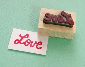 Love Stamp - Retro Love Rubber Stamper - Wedding Gift - Wedding Stamp - DIY Wedding Invites - Valentines - Hadmade Wedding - Script Font