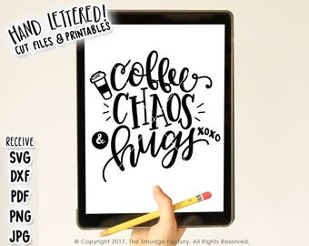 New Mom SVG Cut File, New Baby Printable File, Silhouette, Cricut, Coffee, Chaos and Hugs, Baby Boy, Baby Girl, Hand Lettered Cut Files