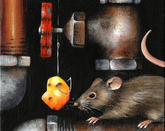 "5"" X 7"" Cat n' Mouse n' Pipes   Original Acrylic Painting Small Format Art"