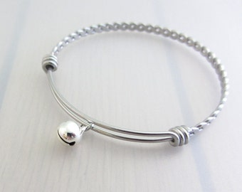 Bell Charm Stainless Steel Bangle, Silver Bell Charm Bracelet, Musical Bangle, Stackable Bracelet, Jingle Bell Bangle, Gift For Music Lover