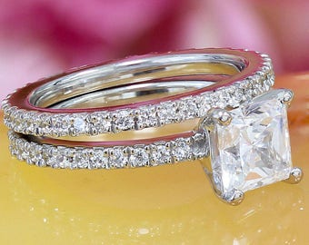 14k white gold princess cut moissanite and diamond engagement ring and band, wedding, anniversary, propose, art deco 2.00ct