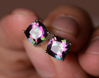 Mystic Topaz Earrings Sterling Silver Gemstone Rainbow Topaz Earrings Stud Earrings