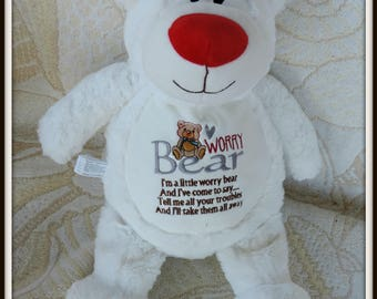 Worry Bear Plushie, White worry doll, secret friend doll, invisible friend, bear stuffed animal, bear plush doll, bear cope gift