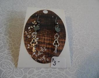 Hematite heart w/ key Earrings