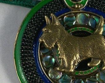 Bold Paua Shell Jeweled and Enameled Vintage Bronze with Tartan Sash OOAK Scottie Pendant - 316s
