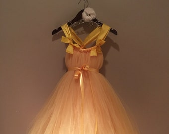 4y golden yellow tulle dress