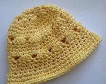 Yellow Sun Hat, Crochet Baby Hat, Newborn Hat, Baby Hat, Yellow Baby Hat, Baby Girl Hat, Summer Sun Hat