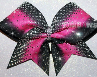 Huge Rhinestones !  Glitter  Ombre Allstar Cheer Bow by FunBows !