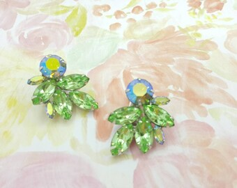 Weiss Green Navette Rhinestone Clip earrings Large Art Deco Gorgeous