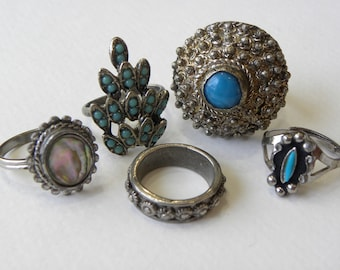 Southwest style ring lot, vintage ring lot, vintage to now ring lot, vintage jewelry lot, ring lot, blue ring lot, huge ring lot, mop ring