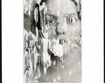 ORIGINAL Selective Destruction -FREE Shipping Surreal photo print Creepy portrait Fine art image Plaster Woman's face Scratch Dark Art OOAK