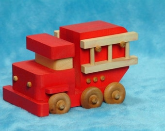 Handcrafted wooden toy Fire Truck