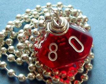 Dungeons and Dragons - D10 Dice Pendant - Transparent Red - Geek Gamer DnD Role Playing RPG