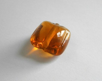 Lampwork Bead Square Pressed Glass Bead Amber Puffed Pillow Focal Bead 19mm X 19mm