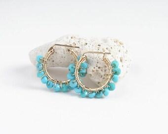Arizona Turquoise Hoop Earrings ~ Sleeping Beauty Turquoise ~ 14K GF Hoop Earrings ~ December Birthday ~ Simple Modern Jewelry