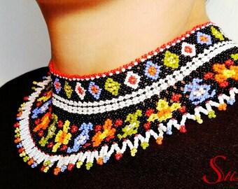 Ethnic gerdan necklace beaded jewelry Long geometric seed bead necklace  green orange blue black Fringe folk boho colorful necklace