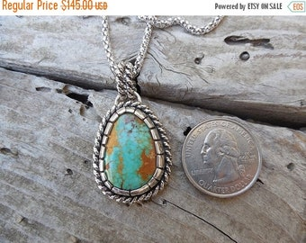 ON SALE Turquoise necklace handmade in sterling silver with a stone from the Number eight mine