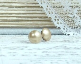 Gold Pearl Earrings Pearl Stud Earrings Gold Pearl Studs Surgical Steel Studs Gold Pearl Jewelry