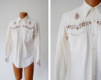 1970s Embroidered Western Shirt - S