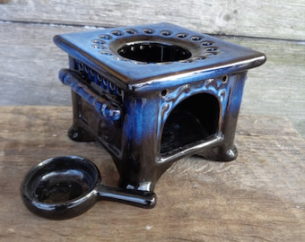 Vintage Pottery; Ceramic Teapot Warmer Stand with Tealight Holder; Tealight Warmer; Blue Glazed Pot Stand; Tea Warmer; Vintage Home Decor