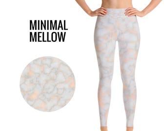 Pink Marble High Waist Leggings, Yoga Leggings, Workout Leggings, Yoga Pants, Colorful Leggings, Printed Leggings, Woman Leggings, Marble