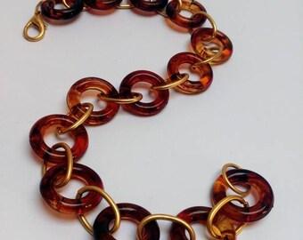 Vintage lucite faux tortoise necklace choker