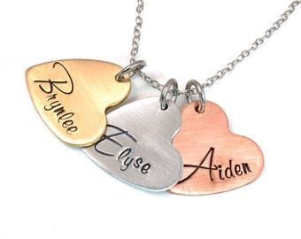 Mommy Necklace - Personalized Heart Necklace - Mothers Necklace - Handstamped Mixed Metals