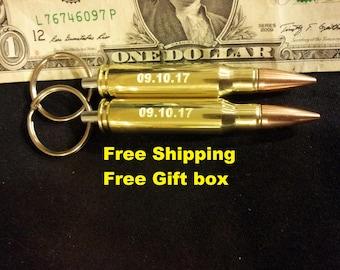 Two Engraved 308 Bullet Keychain groomsmen gift,valentines gift for men gift for men