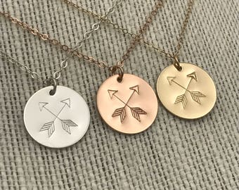 Crossed Arrow Necklace, Crossed Arrows, Gift for Her, Graduation Gift, Sterling Silver, Gold Filled, Rose Gold Filled, Birthday Gift