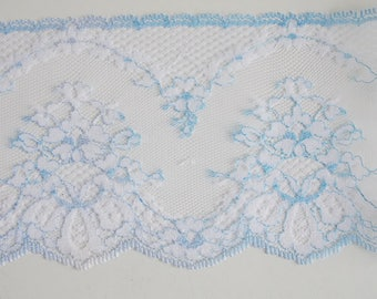 White and blue lace, wide lace, 2 yards, 10cm, 4 inches wide, vintage trim, wedding supplies, sewing supplies, sewing notions, lace trim L26