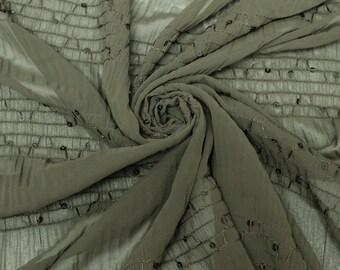 Dark Olive Chiffon Stretch Sequin Fabric