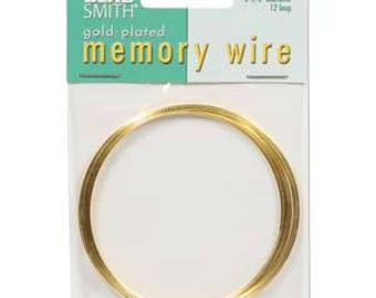 """Beadsmith Gold Plated Memory Wire 2 1/2"""" Diameter, 12 Loop"""