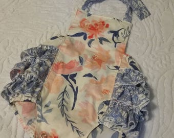 Baby Romper, Bubble Romper, Spring Romper, Baby Girl Romper, Pink and Blue Romper,Floral Romper