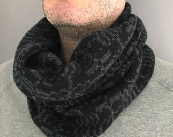 Mens cowl, Mens geometric knitted cowl, gift for him, lambswool cowl, mens snood, mens cowl scarf, gift for him, camping gift, knit cowl