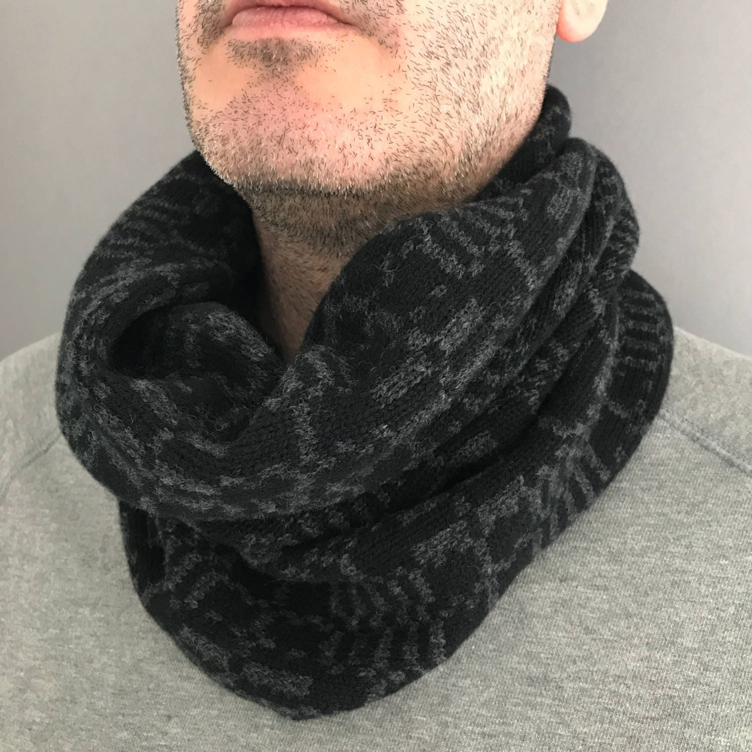 Mens cowl Mens geometric knitted cowl gift for him