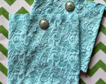 Aqua/Turquoise Lace Boot Cuffs with rhinestone and pearl button