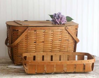 Vintage Large Wooden Picnic Basket, Wood Slat Picnic Basket, Rustic Wedding Decor Country Farmhouse Basket Removable Tray Bent Wood Handles