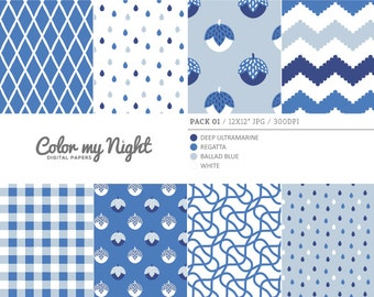 80% OFF SALE Digital Paper Blue 'Pack01' Chevron, Gingham, Drops, Fruits, Crosshatch & Abstract Backgrounds for Scrapbook, DIY Projects...