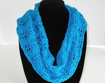 Blue Summer Lace Scarf / Cotton Circle Scarf  /Hand Knit Infinity Scarf or Cowl