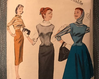 Vintage—1950's Sewing Pattern—Butterick 7460–Size 11—Blouse—Jerkin And Skirt