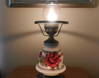 White Hurricane Lamp with Glass Chimney  Needs White Shade