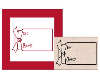 Gift Tag with Bow To and From Rubber Stamp
